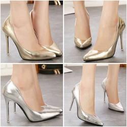 giày cao gót mũi nhọn ánh kim
