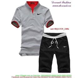 Bộ đồ thể thao nam áo cổ trụ quần short sành điệu