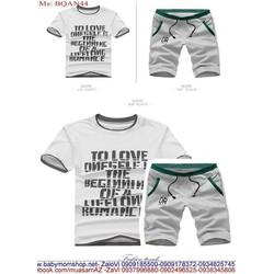 Bộ thể thao nam áo ngắn tay in chữ và quần lửng phong cách