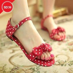 Giày sandal nữ chấm bi nơ