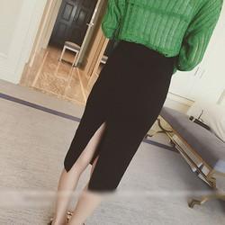 Chân váy len bút chì xẻ tà QP06