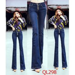 QDL298 Quần jean dài lưng cao 4 nút ống loe xinh xắn