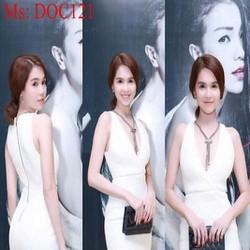 Đầm ôm dự tiệc trắng cổ V xẻ sâu trẻ trung quyến rũ DOC121