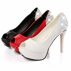 Giày cao gót độn đế hở mũi da pu GF51018229