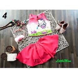 Bộ croptop Hello Kitty váy xòe dễ thương cho bé gái 13-25kg