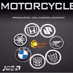 Logo Honda, Suzuki, BMW, King kim loại dán xe máy