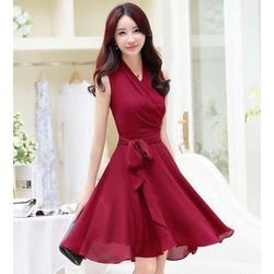Đầm Đỏ xòe thiết kế nơ korea,Cao Cấp
