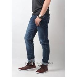 Quần jeans nam co giãn , ống côn, mài xước nhẹ 16J756