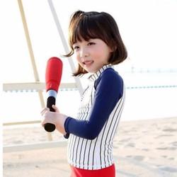 Bộ bơi dài tay bóng chày bé gái kẻ trắng xanh than từ 2 đến 6 tuổi
