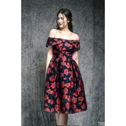 Đầm Xòe Vintage Trễ Vai Hoa Đỏ Cao Cấp