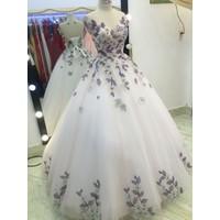 áo cưới hoa ren lưới hồng