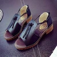 DEAL SỐC-Giày sandal đế vuông dây cột da GF52013253
