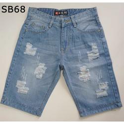 Quần short jean nam rách màu xanh nhạt