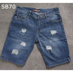 Quần short jean nam rách màu xanh đậm