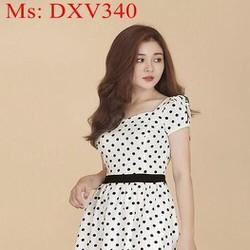 Đầm xòe công sở chấm bi nền trắng trẻ đẹp DXV340