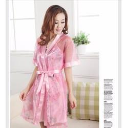 Đầm ngủ kèm áo khoác chất liệu satin VNC105