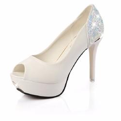 Giày cao gót đế nhọn hở mũi da pu GF51010233