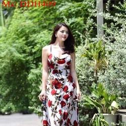 Đầm dạ hội cúp 2 dây và hở lưng họa tiết hoa hồng xinh đẹp DDH409