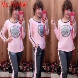 Đồ bộ mặc nhà dài tay hình bông hoa thun cotton cao cấp NN466