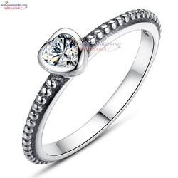 Nhẫn Mặt trái tim đá bạc Thái Trắng