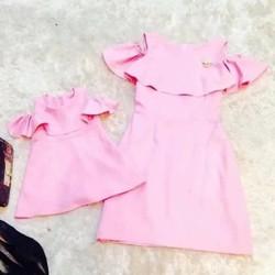 Đầm đôi mẹ bé cách điệu bèo trễ vai trẻ trung HGS 265