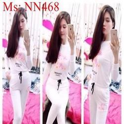 Đồ bộ mặc nhà thun coton hình hoa xinh đẹp NN468
