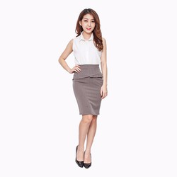 Chân váy công sở xếp ply hông - V06316065