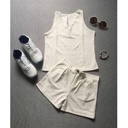 Set bộ short trắng sọc cao cấp