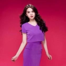 Sét áo kiểu tay con cổ tròn phối chân váy bút chì kết hợp túi SEV219