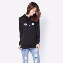 Áo Hoodie nữ thêu họa tiết Mèo - Đen CIRINO