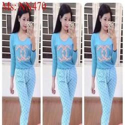 Đồ bộ mặc nhà dài tay hình họa tiết hoa phối quần dài xinh đẹp NN470