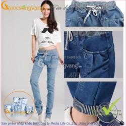 Hàng nhập – Quần Jean nữ đẹp kiểu Harem co giãn lưng thun GLQ013