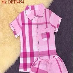 Đồ bộ mặc nhà ngắn tay sọc caro màu dễ thương DBTN494