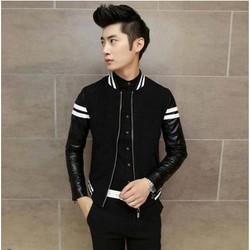 áo khoác nỉ nam phối tay da hàng mới về DMK61