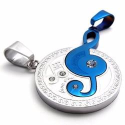 Dây chuyền cặp vòng tròn lồng nốt nhạc xanh