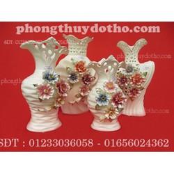 Bộ 4 bình hoa sứ cao cấp - 2 , đồ phong thủy, đồ trang trí