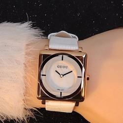 BH 1 năm-Đồng hồ mặt vuông phong cách thời trang dây da màu trắng