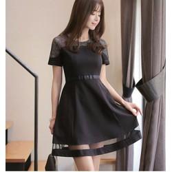 Đầm xoè phối lưới lai váy