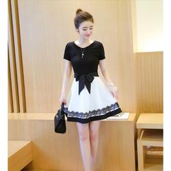 Hàng Nhập - Đầm Xòe Chân Váy Ren Cột Nơ Eo