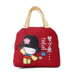 Túi giữ nhiệt xinh xắn cô gái Nhật loại dày cực cute - Đỏ...