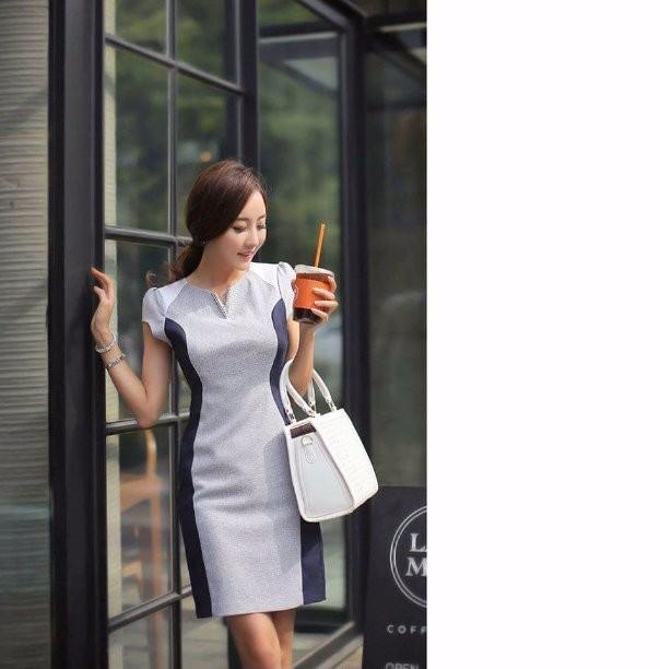 Đầm công sở phối màu 2