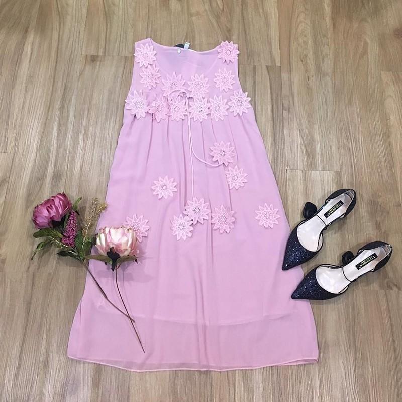 Đầm suông đính hoa nổi cao cấp 2