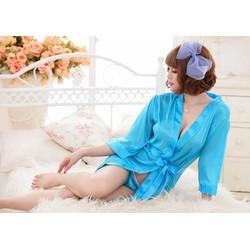 Đầm ngủ khoác phi bóng - Xanh Dương