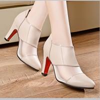 Giày Boot nữ da cổ thấp phối lưới cao cấp - LN425