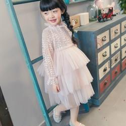 Đầm bé gái tay dài voan xoè tầng D172
