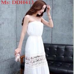 Đầm maxi cúp ngực trắng hoa văn cắt laze sành điệu DDH413