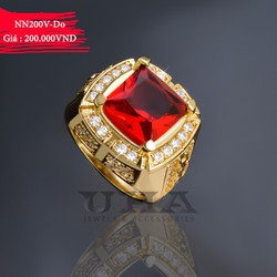 Nhẫn Nam Mạ Vàng Mặt Đá Vuông 200 - Đỏ