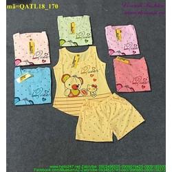 Bộ đồ nữ áo hình gấu phối quần short chấm bi dễ thương bQATL18