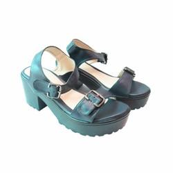 Giày Sandal cao gót màu xanh