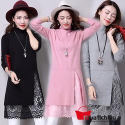 MTL - Đầm len xẻ tà phối ren cao cấp